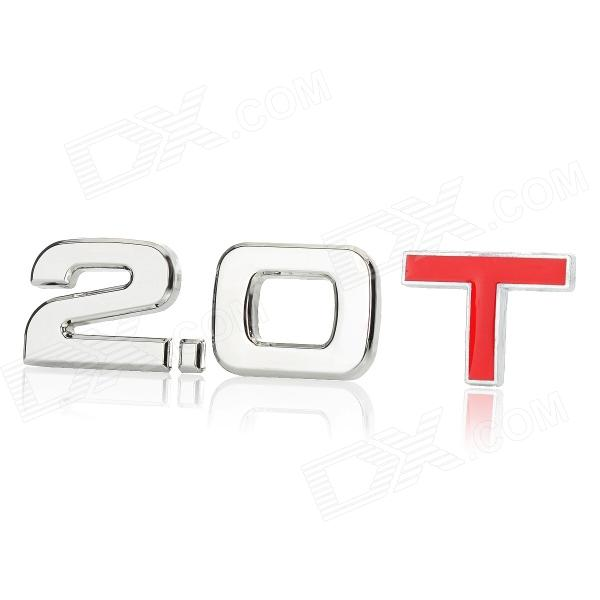 3D Cool 2.0 T Style Chrome Alloy Car Decoration Sticker - Silver + Red
