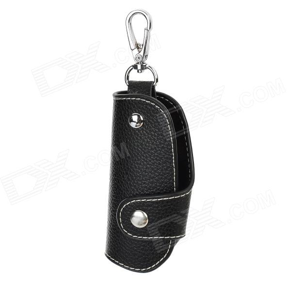 CT005 Universal Genuine Leather Protective Pouch Keychain for Car Smart Key - Black
