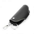 Universal Genuine Leather Protective Pouch Keychain for Car Smart Key - Black