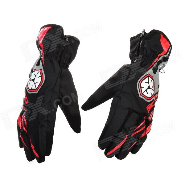 Scoyco MC16 Water Resistant Full-Fingers Motorcycle Gloves - Red + Black (Pair / Size L)