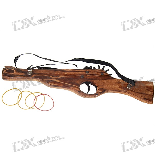 Classical Multi-Shot Rubber Band Launcher Wooden Rifle Gun (Toy)