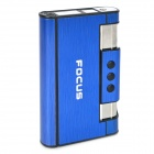 2-in-1 Focus YH007 Aluminum Alloy Automatic Ejection Cigarette Case Lighter - Blue