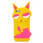 Fashion Fox Style Protective Silicone Back Case for Iphone 5 - Yellow + Deep Pink