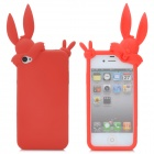 Cute Rabbit Style Protective Silicone Back Cover Case for iPhone 4S - Red