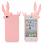 Cute Rabbit Style Protective Silicone Back Cover Case for iPhone 4S - Pink