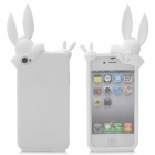 Cute Rabbit Style Protective Silicone Back Cover Case for iPhone 4S - White
