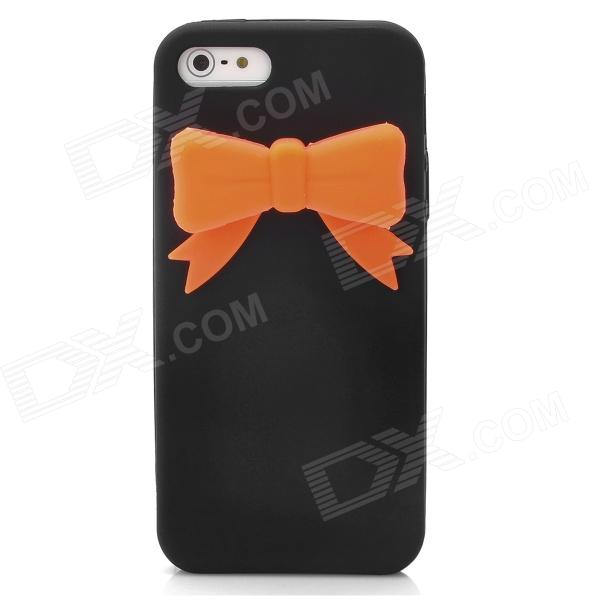 Protective Bowknot Style Silicone Back Cover Case for Iphone 5 - Black + Orange protective silicone soft back case cover for iphone 5 white