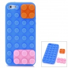 Protective Silicone Cylindric Block Style Back Cover Case for iPhone 5 - Orange + Pink + Blue