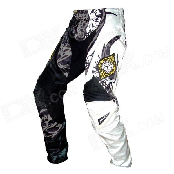 Scoyco P025-XXL Motorcycle Professional Racing Pants - Black + White (Size XXL)