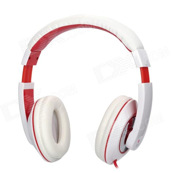 KANEN VA-039MV Stereo Headphone w/ Microphone - White + Red (3.5mm Plug / 150cm)