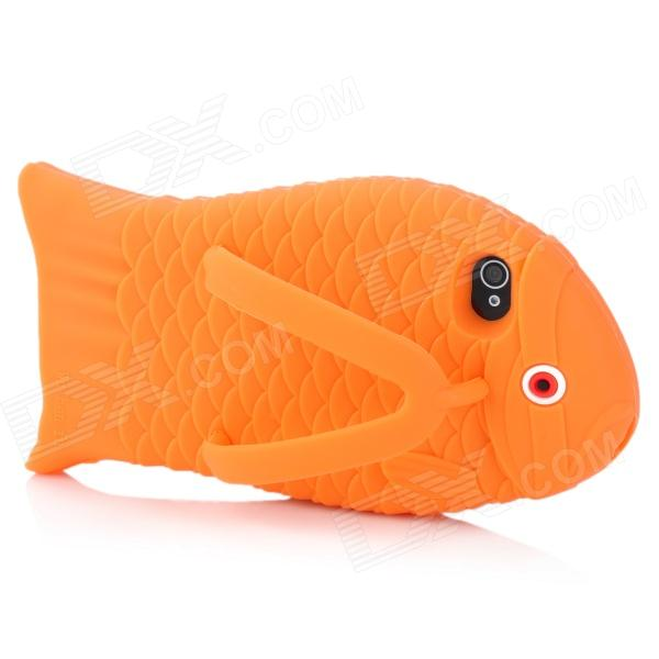 Cute Fish Slipper Style Protective Silicone Back Case for Iphone 4 / 4S - Orange cool skull head style protective soft silicone back case for iphone 4 4s pink