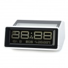 2.5'' LCD 4-Digit Portable Plastic Desktop Clock - Black + White (3 x AAA)