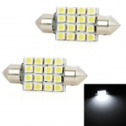 Festoon 36mm 1.6W 160lm 16-SMD 1210 LED White Light Car Leselampe (2 PCS / 12V)