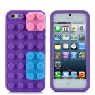 Protective Silicone Cylindric Block Style Cover-Rückseite Case für iPhone 5 - Purple + Pink + Blue