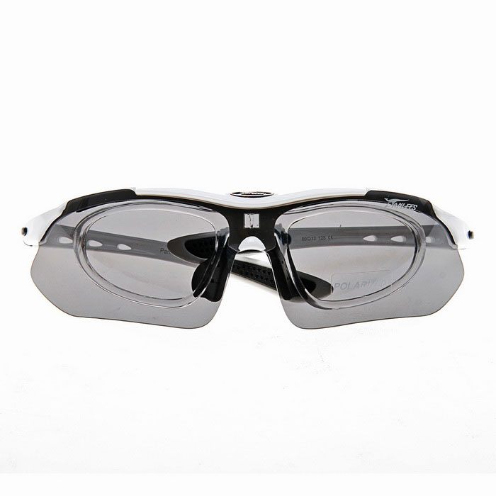 Panlees sp008 Outdoor Riding Driving Eye Protection Sunglasses Goggles w/ 5 Pair Lens - White Frame