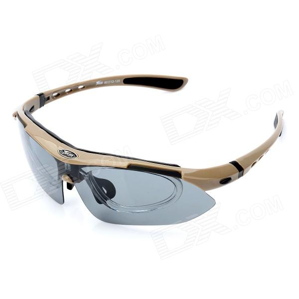 Panlees sp008 Outdoor Riding Driving Eye Protection Sunglasses Goggles w/ 5 Pair Lens - Tawny Frame