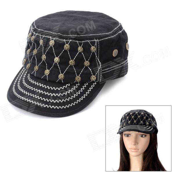 Cool Skull Rivet Pattern Flat-top Cap Hat - Black military hat flat cap m177