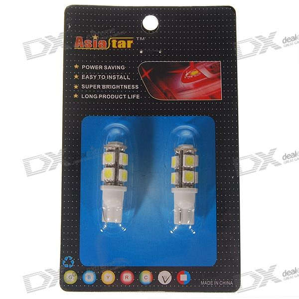 T10 1.35W 12V 9-LED Car Turning Signal Light Bulbs - White (2-Pack)