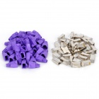 Cat.5e RJ45 Network Cable Connectors + Protective Purple Cap Heads Set (40 PCS)