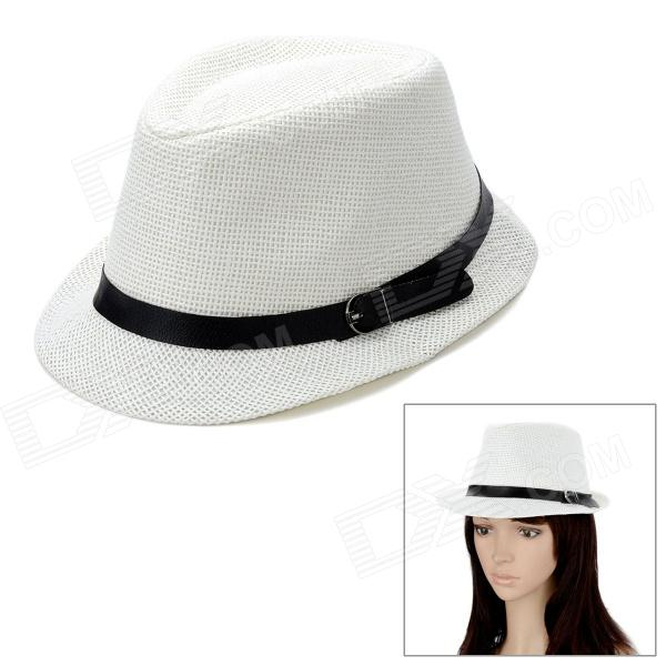 Fashion Straw-Woven Jazz Hat - White stetson men s breakers premium shantung straw hat