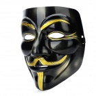 V for Vendetta Anonymous Guy Fawkes Plastic Mask - Black + Golden