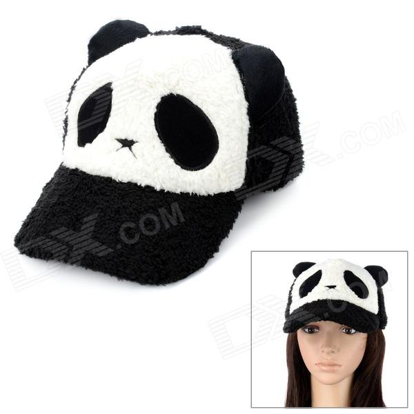 Cute Panda Pattern Plush Baseball Hat Cap - White + Black ears baseball cap for children girl hat cat baseball caps adjustable summer sun hat cap cute baby kid snapback bone wholesale