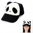 Cute Panda Pattern Plush Baseball Hat Cap - White + Black
