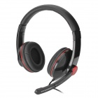 HYUNDAI CJC-8218 Wired Stereo Headphone w/ Microphone - Black + Red (3.5mm Plug / 183cm)