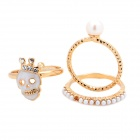Fashion Crystal Skull Pearl Rings Set - Golden + White (3 PCS)