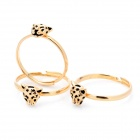 Retro Leopard Pattern Copper Ringe Set - Golden (3 PCS)