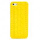 Special Tire Tread Pattern Protective Silicone Back Case for iPhone 5 - Yellow