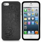 Flower Embossed Pattern Protective TPU Back Case for iPhone 5 - Black