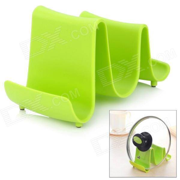 Creative Wave Style PP Lid Rack Mount Holder - Green creative kitchen pp elegant swan style ladle
