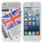 UK National Flag Pattern Protective Back Case + SIM Card Adapter for Iphone 5 - White + Red + Blue