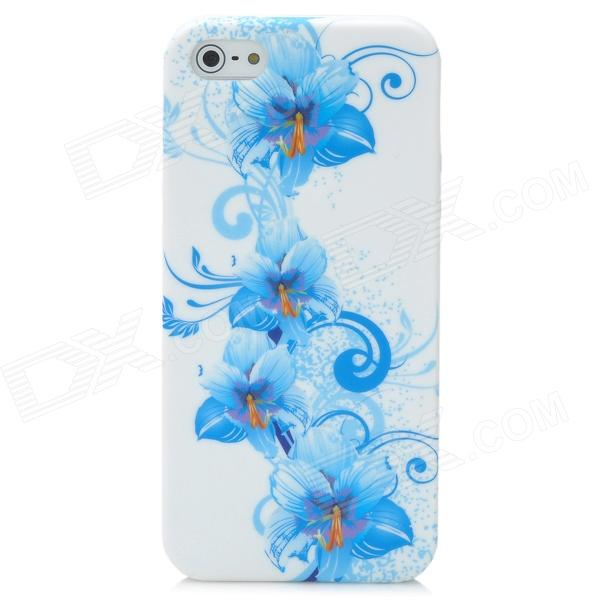 Elegant Flower Pattern Protective Silicone Case with Screen Protector for Iphone 5 - White + Blue protective silicone case for nds lite translucent white