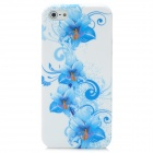 Elegant Flower Pattern Protective Silicone Case with Screen Protector for Iphone 5 - White + Blue