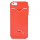 Protective Plastic Back Case w/ Card Holder for iPhone 5 - Red