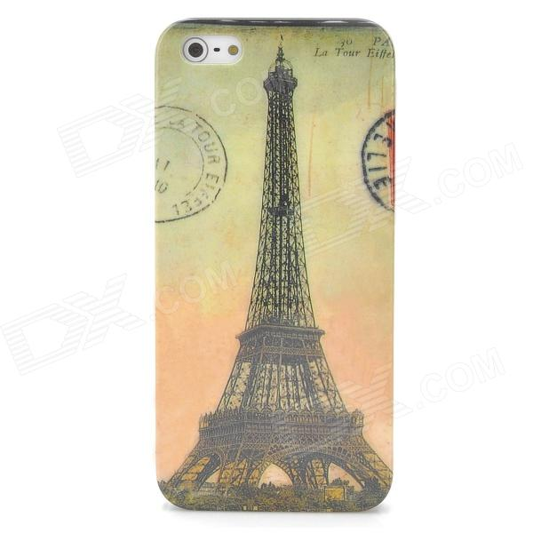 Eiffel Tower Pattern Protective Back Case + SIM Card Adapter for Iphone 5 - Yellow + Greyish Green аксессуар защитное стекло ainy 0 25mm для apple iphone 7