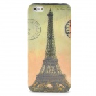 Eiffel Tower Pattern Protective Back Case + SIM Card Adapter for Iphone 5 - Yellow + Greyish Green