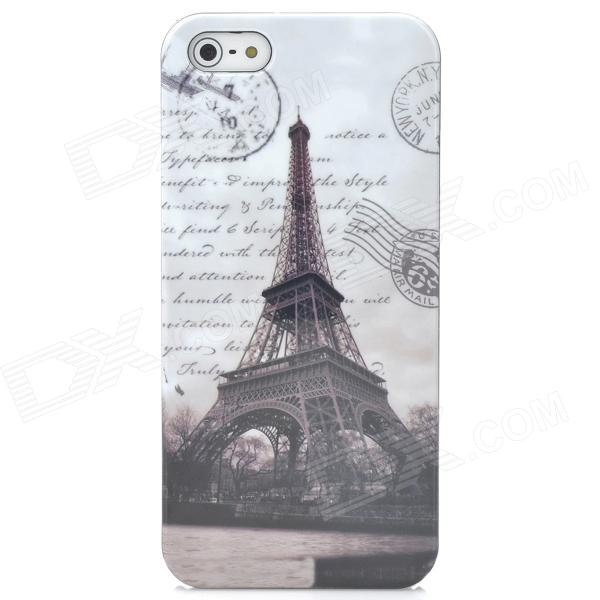 2-in-1 Eiffel Tower Pattern Protective Back Case + SIM Card Adapter for Iphone 5 - Brown + White puluz card reader 22 in 1 waterproof memory sd card case storage box for 1standard sim 2micro sim 2nano sim 7sd 6tf 1card pin