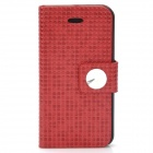 Protective Flip-Open PU Leather + Plastic Case with Holder for Iphone 5 - Red