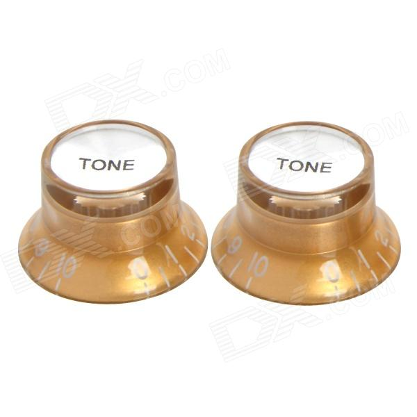 Plastic Tone Knob for Electric Guitar / Bass - Golden (2 PCS) sews high quality 3 way guitar selector pickup off on toggle switch with knob guitar new no noise for bass acoustic guitar