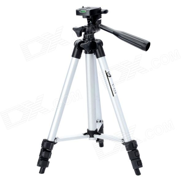 Retractable 4-Section Tripod w/ Level Gradienter for SLR Camera - Silver + Black (Size S)Tripods and Holders<br>Model:Form  ColorBlackMaterial:TypeTripodPacking List<br>