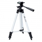 Retractable 4-Section Tripod w/ Level Gradienter for SLR Camera - Silver + Black (Size S)
