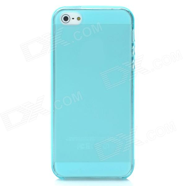 Protective TPU Back Case + Screen Protector + Water Resistant Pouch Set for Iphone 5 - Blue tpu shatter resistant back protective case for iphone x