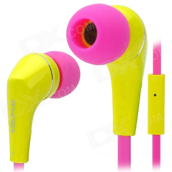 Awei Q7i Stylish In-Ear Earphone with Microphone for Iphone / Ipad + More - Yellow + Deep Pink awei stylish in ear earphone with microphone for iphone ipad more black 3 5mm plug