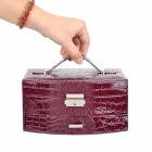 Protective Alligator Pattern PU Leather Cosmetic Jewelry Storage Case - Purple