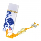Blue and White Porcelain Pattern USB 2.0 Flash Drive - White + Blue (4GB)