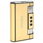Focus YH007 Gold Wiredrawing Cigarette Case w/ Butane Jet Torch Lighter - Light Golden