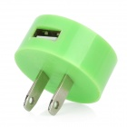 USB US Plug Power Adapter for Nokia Lumia 920 / Samsung / iPhone - Green (100~240V)